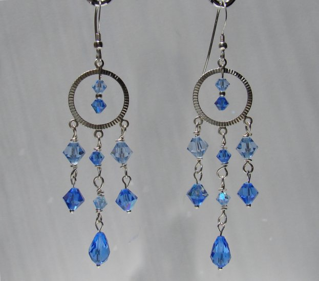 Sterling Silver Blue Crystal Chandelier Earrings - BL114