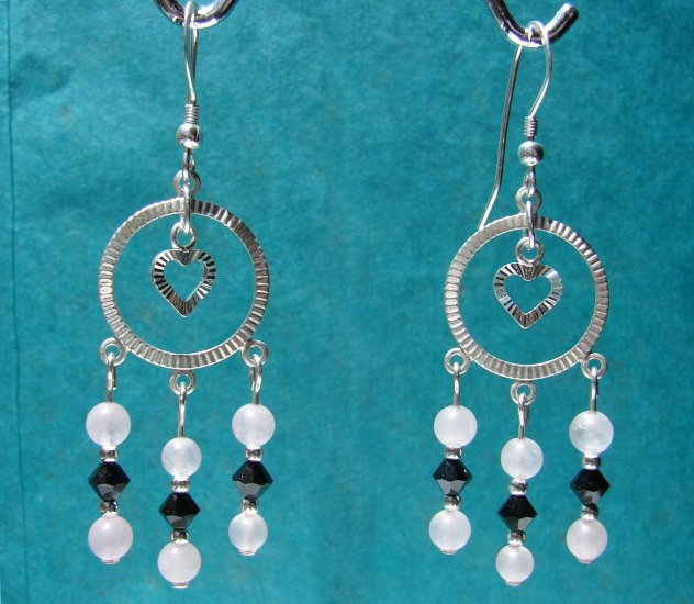 Sterling Silver Pink Quartz and Black Crystal Heart Earrings - P124