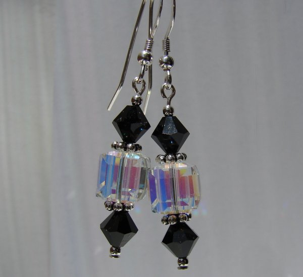 Sterling Silver Black Crystal Cube Earrings - BK108
