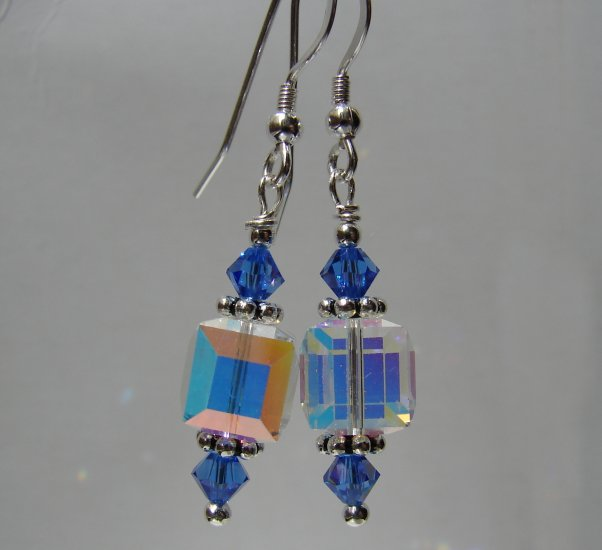 Sterling Silver Blue Crystal Cube Earrings - BL119