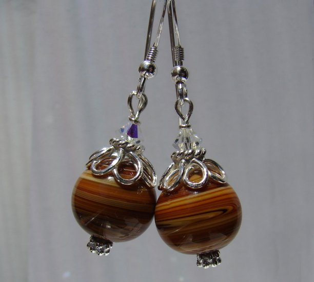 Sterling Silver Brown Lampwork / Crystal Earrings - E155