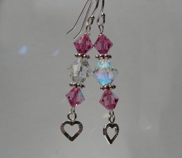 Sterling Silver Pink Crystal Heart Earrings - P129