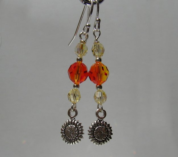 Sterling Silver Yellow / Orange Sun Flower Earrings - E163
