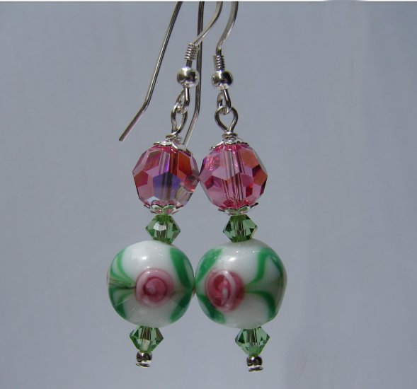 Sterling Silver Green and Pink Rose Lampwork Earrings - P128