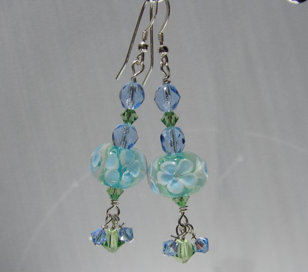 Sterling Silver Blue Green Flower Glass Earrings - BL117