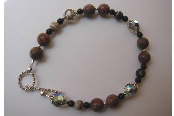 Black Onyx Jasper Crystal Bracelet - B305