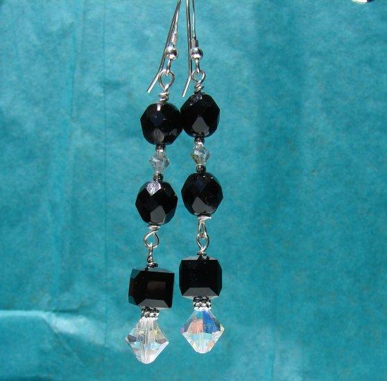 Sterling Silver Black Glass & Swaroski Crystal Earrings - BK104