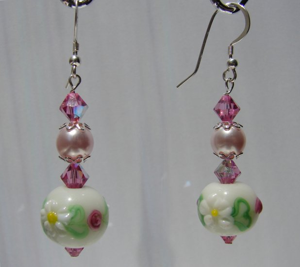 Sterling Silver Daisy and Pink Rose Lampwork Earrings - P121