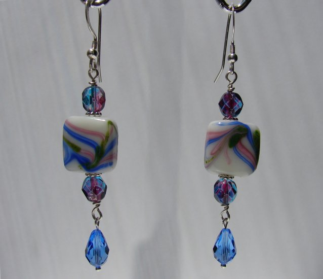 Sterling Silver Blue, Pink and Green Crystal Earrings - BL113