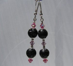 Black LAVA w/ Pink Crystals Sterling Silver Earrings - E167