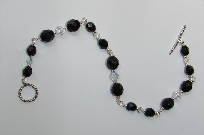 Black Czech Glass and Swarovski Crystal Bracelet - B304