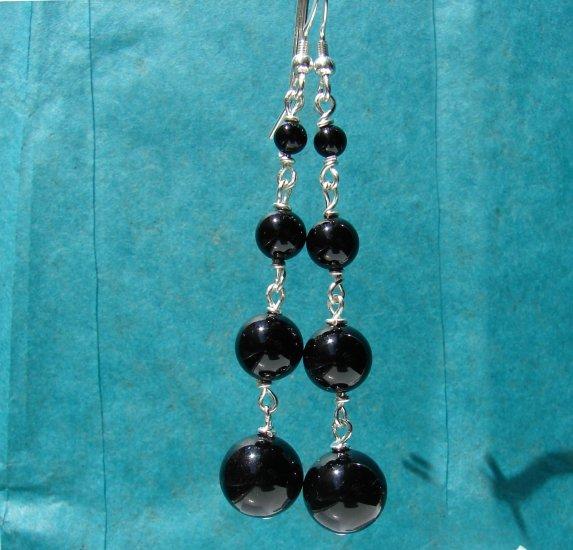 Black Onyx Sterling Silver Dangle Earrings - BK102