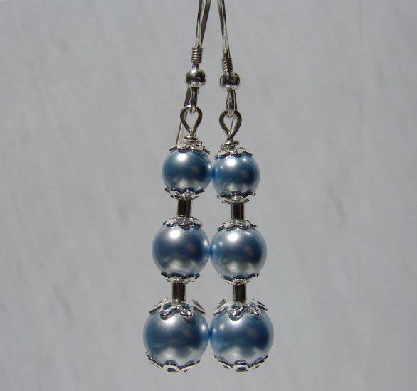 Powder Blue Swarovski Glass Pearl Earrings - BL112