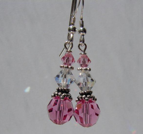 Sterling Silver Pink Swarovski Crystal Earrings - P120