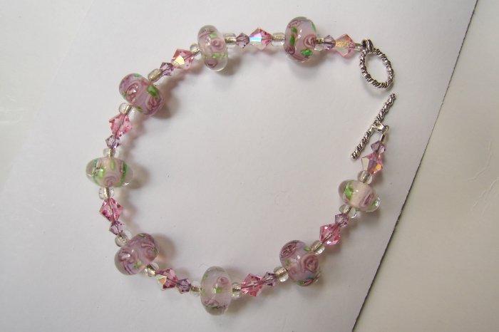 Sterling Silver Pink Rose Crystal Bracelet - B308