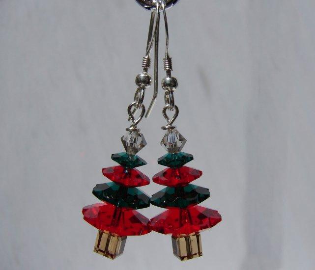 Christmas Tree Earrings w/ Swarovski Crystal Elements - C108
