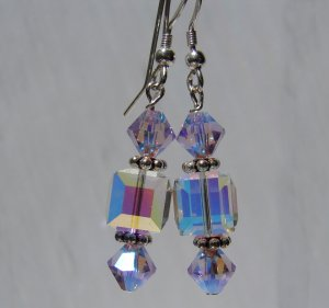 Sterling Silver Light Violet Crystal Cube Earrings - E149