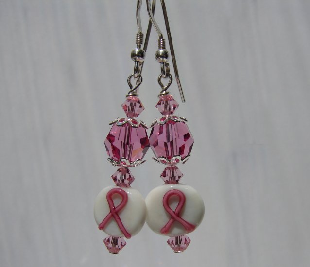 Pink Awareness Ribbon W/ Crystals Earrings - Ea12