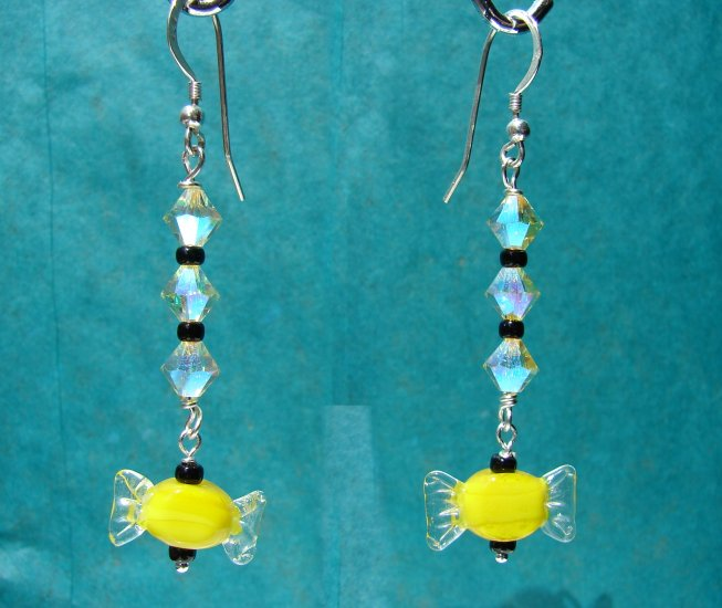 Yellow Candy Halloween Earrings w/ Crystals - E17