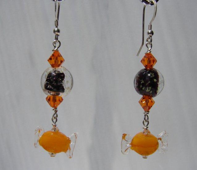 Black Glow in the Dark w/ Orange Candy Halloween Earrings