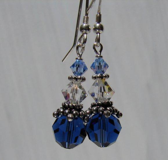 Sterling Silver Blue Swarovski Crystal Earrings - BL110