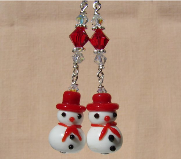 Christmas Snowman Earrings w/ Red Swarovski Crystals - C105