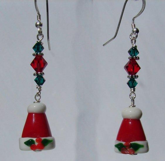 Christmas Santa Hat Earrings w/ Red Swarovski Crystals - C104
