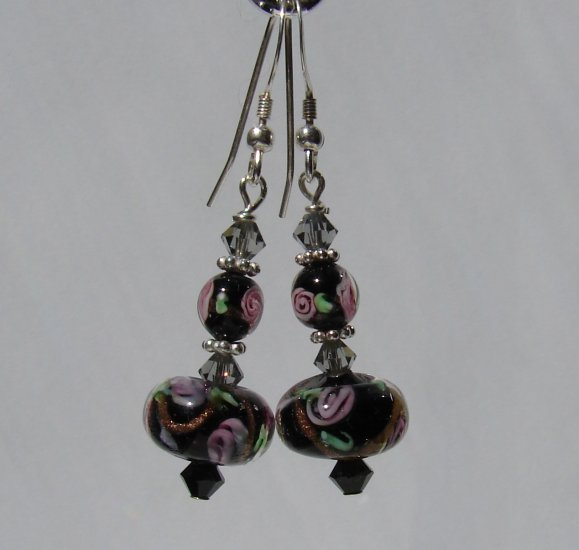 Black with Pink Roses and Crystals Sterling Silver Earrings- BK101