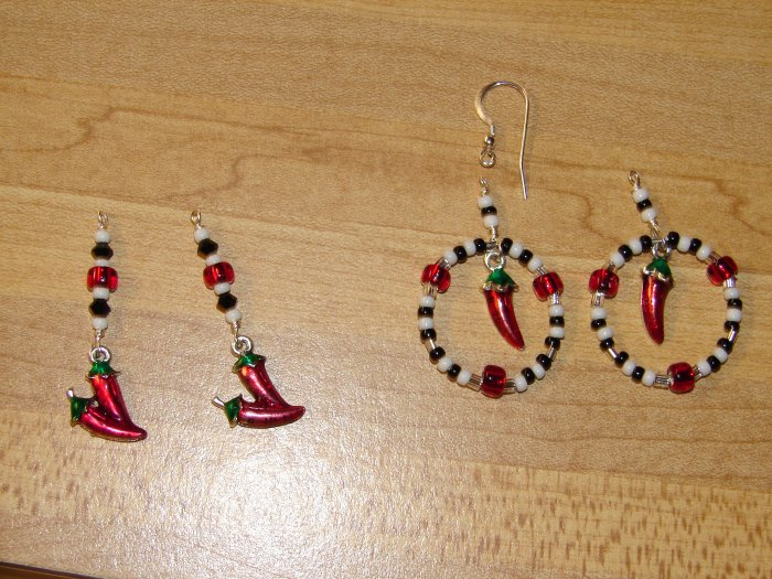 Black, White and Red Chili Pepper charm Earrings