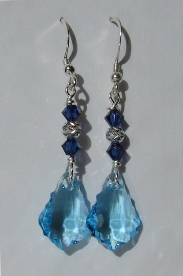 Sterling Silver Blue Baroque Crystal Earrings - BL146