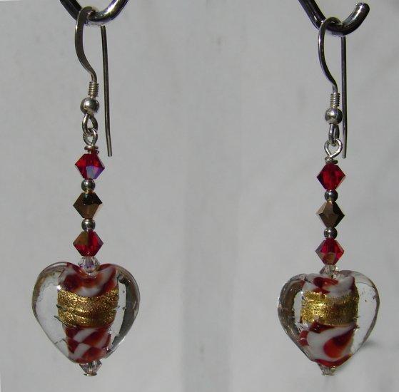 Heart Earrings w/ red Swarovski Crystals - C109