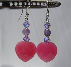 Pink Jade Heart Earrings w/ Crystals for Mother's Day - P170