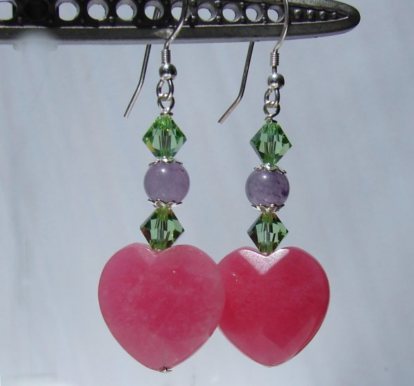 Pink & Purple Jade Heart Earrings w/ Green Swarovski Crystal Elements - P171