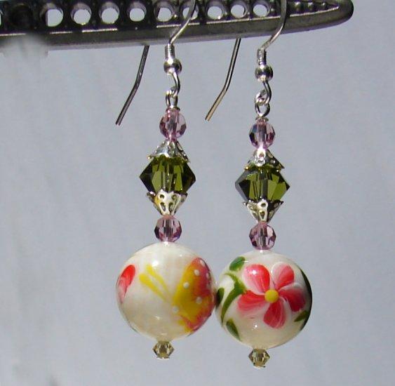 Handpainted Mother of Pearl Pink Flower / Butterfly Earrings - P173