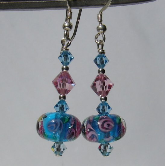 Blue Glass w/ Pink Roses & Crystals Dangle Earrings - BL161
