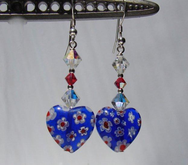 Blue Millefiori Heart Earrings w/ Swarovski Crystals - BL163