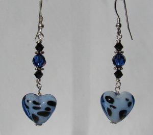 Blue Glass Dalamation Heart Earrings w/ Swarovski Crystals - BL164