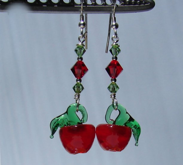 Teacher Gift /  Red and Green Apple Earrings with Crystals- E176