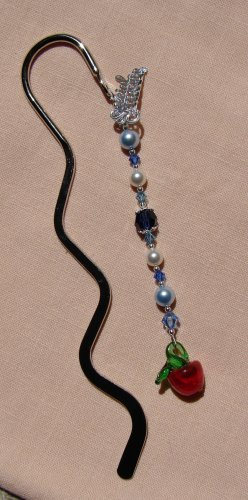 Teacher Gift / Blue Crystal Silver Teacher Bookmark - E177