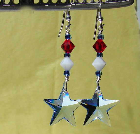 Red, White & Blue Crystal Star Earrings for 4th of July - H603