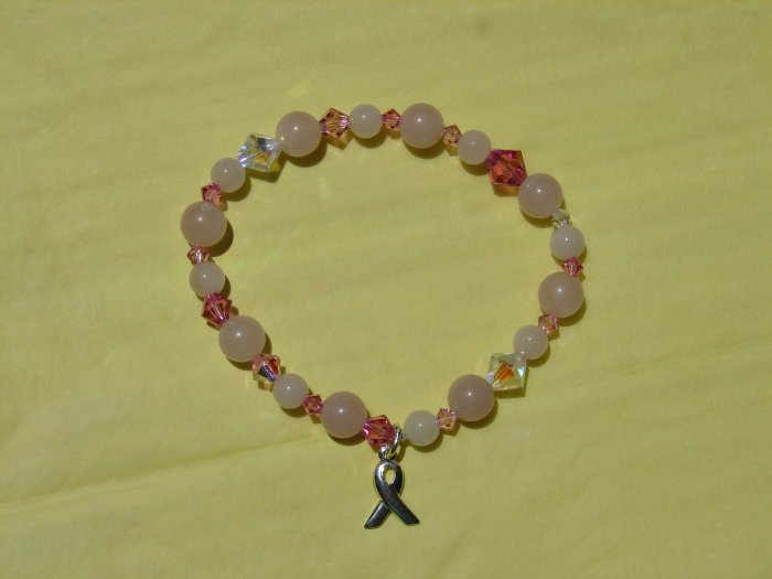 Pink Quartz and Crystal Stretch bracelet w/ Silver Ribbon