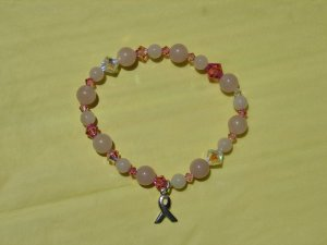Pink Quartz and Crystal Stretch bracelet w/ Silver Ribbon