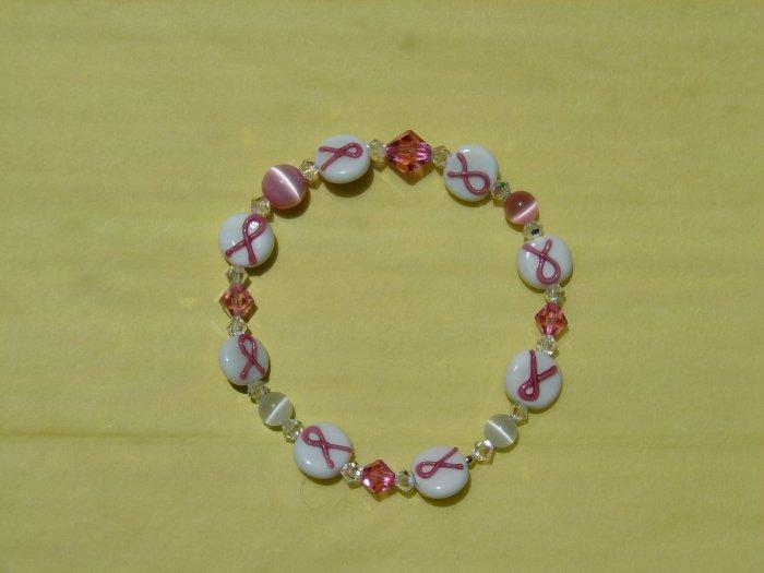 Pink Ribbon Bracelet w/ Swarovski Crystals