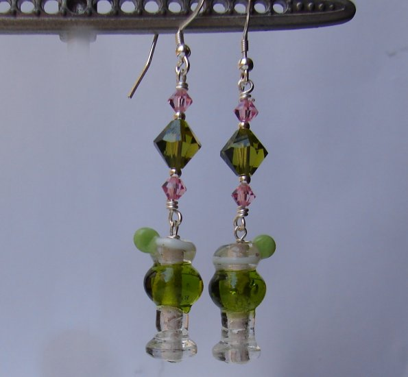 Lampwork Green Margarita Earrings  w/ Swarovski Crystals