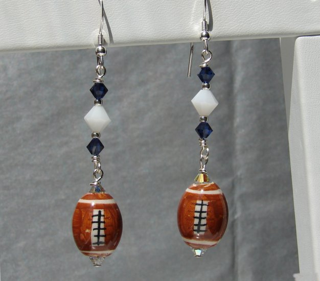 Ceramic Football Earrings w/ Swarovski Crystals