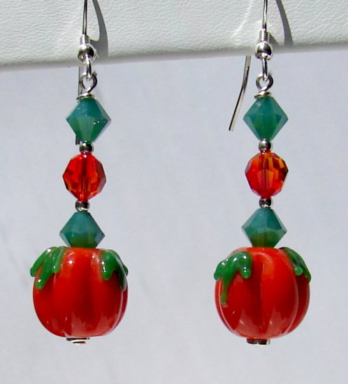 Lampwork Pumpkin Earrings w/ Swarovski Crystal Elements - H604