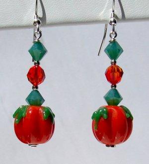 Lampwork Pumpkin Earrings w/ Swarovski Crystal Elements - H604