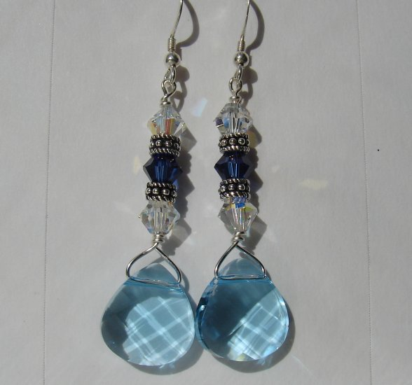 Sterling Silver Blue Briolette Crystal Earrings - BL116