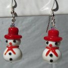 Christmas Lampwork Glass Red Snowman Earrings - H608