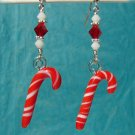 Red and White Glass Candy Cane Christmas Earrings - H611